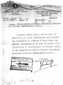 La lettera di accompagno del Decreto inviata dal Ministro della Guerra