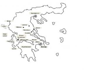 Mappa della Grecia con l'indicazione dei principali luoghi citati nella Relazione